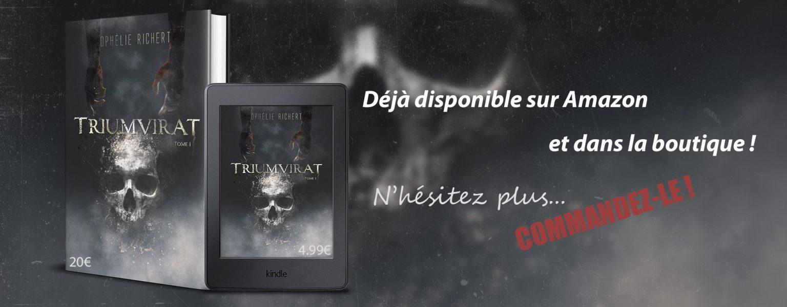 Bannière promotionnelle du livre TRIUMVIRAT